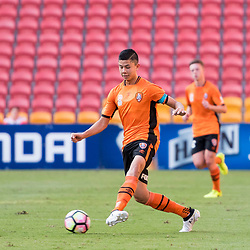BRISBANE, AUSTRALIA - MARCH 25: Adam Sawyer dribbles the ball during the round 5 NPL Queensland match between the Brisbane Roar and SWQ Thunder at Suncorp Stadium on March 25, 2017 in Brisbane, Australia. (Photo by Patrick Kearney/Brisbane Roar)
