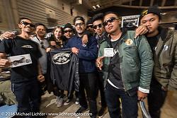 Yaniv Evan and his friends of his Powerplant at the Mooneyes Yokohama Hot Rod & Custom Show. Yokohama, Japan. December 4, 2016.  Photography ©2016 Michael Lichter.