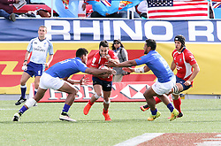 March 5, 2017 - Las Vegas, Nevada, United States of America - Chilean rugby player Francisco Metuaze is  tackled by  Samoan players  Jope Perez and Neria Fomai during the 2017 USA Sevens International Rugby Tournament game between Chile and Somoa on March 4, 2017  at Sam Boyd  Stadium  in Las Vegas, Nevada (Credit Image: © Marcel Thomas via ZUMA Wire)