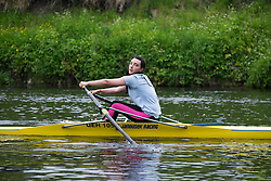 © Licensed to London News Pictures.13/06/15<br /> Durham, England<br /> <br /> A competitor races during the sculling heats at the 182nd Durham Regatta rowing event held on the River Wear. The origins of the regatta date back  to commemorations marking victory at the Battle of Waterloo in 1815. This is the second oldest event of this type in the country and attracts over 2000 competitors from across the country.<br /> <br /> Photo credit : Ian Forsyth/LNP