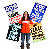 Megan Phelps-Roper, member of the Westboro Baptist Church and Granddaughter of Pastor Fred Phelps; daughter of Shirley Phelps-Roper & Brent Roper. She works on logistical details for WBC.