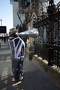 Anti Brexit protester Steve Bray shouts through his megaphone as Prime Ministers questions is due to start in Westminster outside Parliament on 29th January 2020 in London, England, United Kingdom. With only two days until the UK is due to leave the EU, these will be some of the last protests with the UK as a European nation.