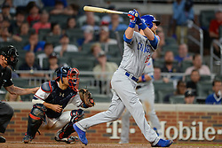 May 15, 2018 - Atlanta, GA, U.S. - ATLANTA, GA Ð MAY 15:  Cubs outfielder Ben Zobrist (18) singles in the game winning run in the top of the 9th inning during the game between Atlanta and Chicago on May 15th, 2018 at SunTrust Park in Atlanta, GA. The Chicago Cubs defeated the Atlanta Braves by a score of 3 -2.  (Photo by Rich von Biberstein/Icon Sportswire) (Credit Image: © Rich Von Biberstein/Icon SMI via ZUMA Press)