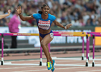 Athletics - 2017 IAAF London World Athletics Championships - Day Eight, Evening Session<br /> <br /> Womens 100m Hurdles Semi final<br /> <br /> Christina Manning (United States) crosses the line at the London Stadium<br /> <br /> COLORSPORT/DANIEL BEARHAM