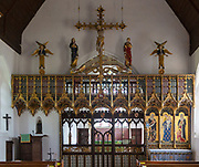 Church of St John the Baptist, Lound, Suffolk, England, UK painted gilt rood screen by Ninian Comper c 1914
