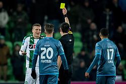 (L-R) Samir Memisevic of FC Groningen, referee Dennis Higler during the Dutch Eredivisie match between FC Groningen and Heracles Almelo at Noordlease stadium on January 27, 2018 in Groningen, The Netherlands