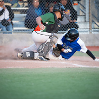 Navajo Pine Warriors eight grader Dylan Keeto (6) beats the tag by Wingate Bears catcher Kelvin Capitan (10) with a slide into home plate during the Wingate Shash tournament at Ford Canyon Park in Gallup on Thursday.