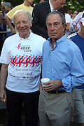 13 September 2009- NY, NY  l to r: Senator Joe Libermann and Mayor Michael Bloomberg at The Annual Komen New York City Race for the Cure held at West 77th Street and Central Park West on September 13, 2009 in New York City.  Photo credit: Terrence Jennings/Sipa Press