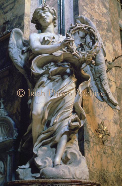 Angel with Crown of Thorns, 1667-1669: Marble.   Gianlorezo Bernini (1598-1680) Italian artist, architect and leading sculptor of his day
