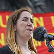 London, UK. 1st May, 2019.  Speaker Helen Flanagan - Industrial Officer for PCS Union at The annual May Day rally in Trafalgar Square on May 1st, 2019 in London.