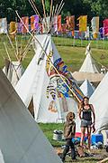 The Tipi village. The 2015 Glastonbury Festival, Worthy Farm, Glastonbury.