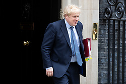 © Licensed to London News Pictures. 26/02/2020. London, UK. Prime Minister Boris Johnson departs 10 Downing Street to take part in PMQs. Photo credit: George Cracknell Wright/LNP