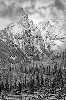 The rocky peaks jut out through the clouds after a Fall snowstorm covered the ground in a blanket of snow in Grand Teton National Park.