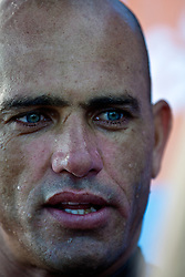 HUNTINGTON BEACH, California/USA (Friday,Aug 5, 2011) 10-Time ASP World Champion Kelly Slater (Cocoa Beach, FL), 39, answers questions at the athlete's compound after finsihing his heat friday morning at the U.S. Open of Surfing 2011. Photo: Eduardo E. Silva.