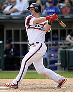 CHICAGO - APRIL 24:  Jerry Sands #41 of the Chicago White Sox bats against the Texas Rangers on April 24, 2016 at U.S. Cellular Field in Chicago, Illinois.  The White Sox defeated the Rangers 4-1.  (Photo by Ron Vesely)   Subject: Jerry Sands