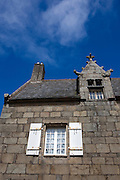 Historic stone houses - architecture in the port town of Roscoff, Brittany, France
