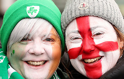 Ireland and England fans show their support prior to the NatWest 6 Nations match at Twickenham Stadium, London.