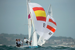 03.08.2012, Bucht von Weymouth, GBR, Olympia 2012, Segeln, im Bild Betanzos Berta, Pacheco Tara, (ESP, 470 Women).Schimak Eva-Maria, Vadlau Lara, (AUT, 470 Women) // during Sailing, at the 2012 Summer Olympics at Bay of Weymouth, United Kingdom on 2012/08/03. EXPA Pictures © 2012, PhotoCredit: EXPA/ Juerg Kaufmann ***** ATTENTION for AUT, CRO, GER, FIN, NOR, NED, POL, SLO and SWE ONLY!