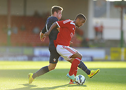 Southampton's Sam McQueen battles for the ball with Swindon Town's Nathan Thompson - Photo mandatory by-line: Joe Meredith/JMP - Mobile: 07966 386802 21/07/2014 - SPORT - FOOTBALL - Swindon - County Ground - Swindon Town v Southampton