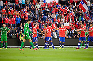 14.09.13. Brondby, Denmark.Chile's team celebrates after scoring the sixth goal during the international friendly match at the Brondby Stadium in Denmark.Photo: © Ricardo Ramirez