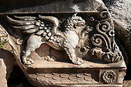 Picture of a Griffin Frieze from the ruins of the Ancient Ionian Greek  Didyma Temple of Apollo & home to the Oracle of Apollo.  Also known as the Didymaion completed circa 550 BC. modern Didim in Aydin Province, Turkey. .<br /> <br /> If you prefer to buy from our ALAMY PHOTO LIBRARY  Collection visit : https://www.alamy.com/portfolio/paul-williams-funkystock/didyma-temple-turkey.html<br /> <br /> Visit our TURKEY PHOTO COLLECTIONS for more photos to download or buy as wall art prints https://funkystock.photoshelter.com/gallery-collection/3f-Pictures-of-Turkey-Turkey-Photos-Images-Fotos/C0000U.hJWkZxAbg