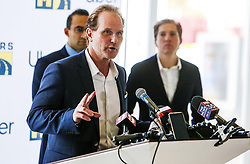 November 19, 2018 - Orlando, FL, USA - Trey White, Mears' executive chariman, speaks at a press conference on Monday, Nov. 19, 2018 announcing a partnership between Uber and Mears in the Orlando market. (Credit Image: © Jacob Langston/Orlando Sentinel/TNS via ZUMA Wire)
