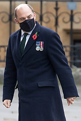 © Licensed to London News Pictures. 11/11/2020. London, UK. Secretary of State for Defence Ben Wallace arrives at Westminster Abbey for an Armistice Day service. Photo credit: George Cracknell Wright/LNP