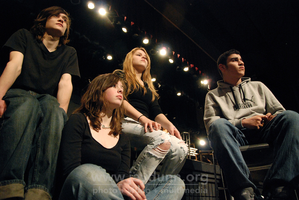 """USA, Skokie, IL, February 12, 2010.  """"Rent"""" cast members Danny Takushi, Taylor Gardner, Emma Decker, and Martin Hanna. Niles North High School's afternoon programs give hundreds of kids opportunities to learn and pursue artistic or academic avenues of their own choice outside standard curricula. The drama program, for example, led by instructor Tim Ortmann, teaches interested students every aspect of theater, from the roles themselves to costume-making, set-building and production design. Photo for Hoy by Jay Dunn."""