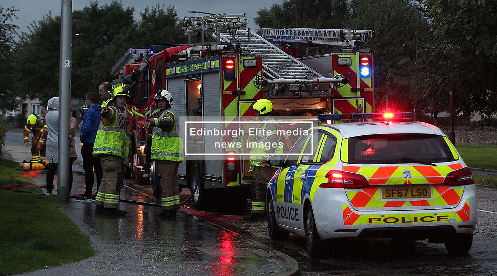 Lightning strike in Prestonpans 10 August 2019; Emergency services attend a Prestonpans house that was struck by lightning during a storm.<br /> <br /> (c) Chris McCluskie | Edinburgh Elite media