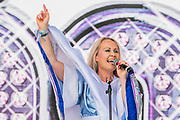 Bjorn Again play the first slot oin the Pyramid Stage to enthusiatic fans, many in ABBA wigs - The 2019 Glastonbury Festival, Worthy Farm. Glastonbury.