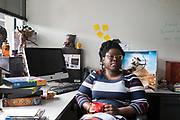 Game designer Ashlyn Sparrow at Game Changer Chicago Design Lab.