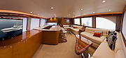 A panoramic view of the Weaver Boatworks main salon - 80' Islamar.
