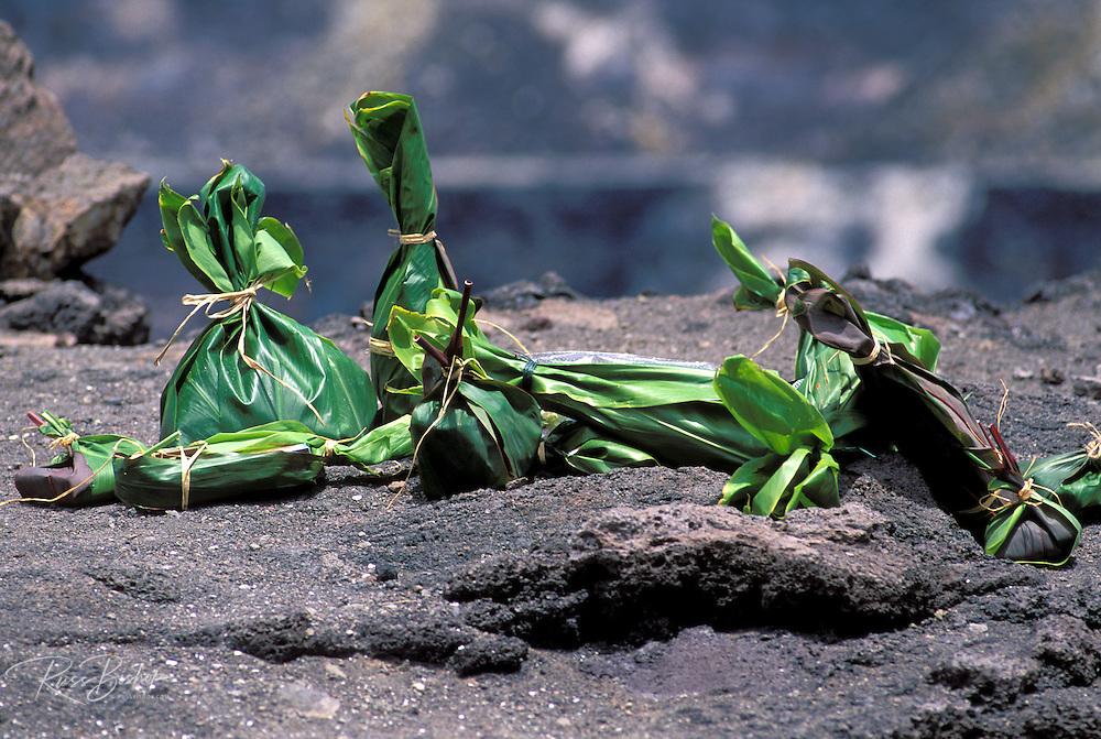 Offerings to Pele on the rim of Halema'uma'u crater, Hawaii Volcanoes National Park, Hawaii
