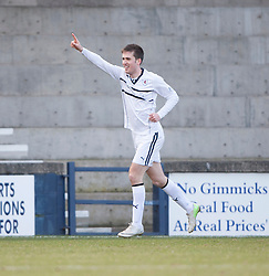 Raith Rovers Callum Booth cele scoring their second goal from a penalty.<br /> Half time : Raith Rovers 2 v 1 Falkirk, Scottish Championship game today at Starks Park.<br /> © Michael Schofield.