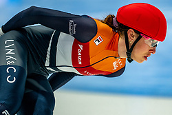 Suzanne Schulting of Netherlands in action on 1000 meter final during ISU World Short Track speed skating Championships on March 07, 2021 in Dordrecht