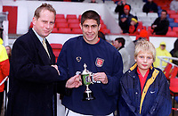 Silvinho recieves the player of the month award for October 2000 before the match. Arsenal 0:0 Derby County. F.A. Premiership, 11/11/2000. Credit: Colorsport / Stuart MacFarlane.