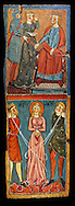 Gothic painted wood panels with scenes of the Martyrdom of Saint Lucy<br /> Circa 1300. Tempera on wood. Date Circa 1300. Dimensions 68.3 x 25.3 x 1 cm. From the parish church of Santa Llúcia de Mur (Guàrdia de Noguera, Pallars Jussà). National Museum of Catalan Art, Barcelona, Spain, inv no: 035703-CJT.<br /> <br /> If you prefer you can also buy from our ALAMY PHOTO LIBRARY  Collection visit : https://www.alamy.com/portfolio/paul-williams-funkystock/romanesque-art-antiquities.html<br /> Type -     MNAC     - into the LOWER SEARCH WITHIN GALLERY box. Refine search by adding background colour, place, subject etc<br /> <br /> Visit our ROMANESQUE ART PHOTO COLLECTION for more   photos  to download or buy as prints https://funkystock.photoshelter.com/gallery-collection/Medieval-Romanesque-Art-Antiquities-Historic-Sites-Pictures-Images-of/C0000uYGQT94tY_Y
