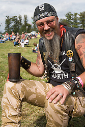 Hells Angel relaxing in the sun at the Cropredy Festival  Fairport's Cropredy Convention  2005