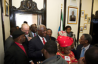 DEU, Deutschland, Germany, Berlin, 16.02.2011:<br />Ernest Bai Koroma, Präsident der Republik Sierra Leone, zu Besuch in der Botschaft von Sierra Leone in Berlin-Lichterfelde, Herwarthstrasse 4.