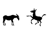 Silhouetted mule from the book ' Aesop's fables ' Published in 1912 in London by Heinemann and in  New York by Page Doubleday Illustrated by Arthur Rackham,