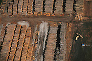 Aerial of the log yard at Blue Lake Timber Company, Humboldt County, California, USA.
