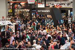 The 20,000+ square foot Honda display booth at EICMA, the largest international motorcycle exhibition in the world. Milan, Italy. November 21, 2015.  Photography ©2015 Michael Lichter.