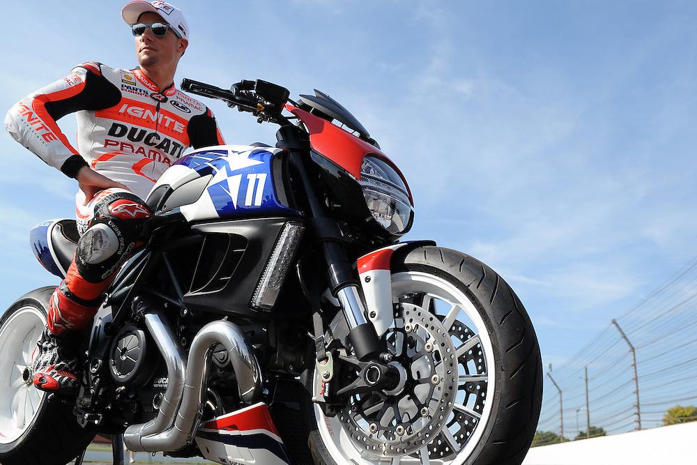 Pramac Ducati rider Ben Spies drag racing a Ducati Diavel at Indianapolis Motor Speedway on August 15, 2013.