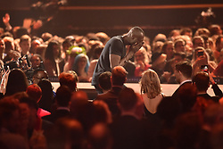 EDITORIAL USE ONLY.<br /><br />Stormzy heads to the stage as he wins Best British Album at the Brit Awards at the O2 Arena, London.