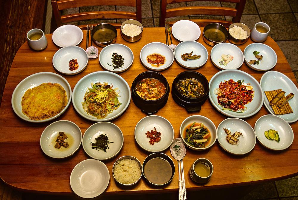 Typical Korean meal, Restaurant Dong Hea, Kyongju, South Korea