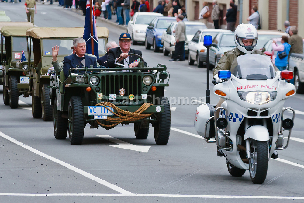 Military Police motorcycle in 2007 ANZAC parade - Hobart, Tasmania <br /> <br /> Editions:- Open Edition Print / Stock Image