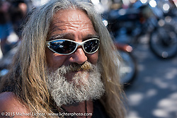 Wetay Crimi of Holly Hills, Fl at the Chopper Time Old School Bike Show at Willy's Tropical Tattoo during the Biketoberfest Rally. Ormond Beach, FL, USA. October 15, 2015.  Photography ©2015 Michael Lichter.
