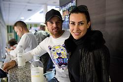 Blaz Kavcic s svojim dekletom Karin na drzavnem prvenstvu veteranskih dvojic v tenisu, 24. marec 2018, BTC Millenium center, Ljubljana, Slovenia. Photo by Vid Ponikvar / Sportida