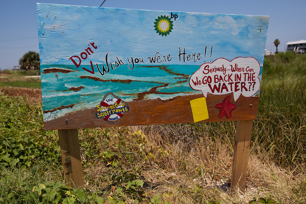 One of a series of signs with a Sponge Bob protesting the BP oil disaster on Grand Isle.