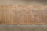 Ancient Egyptian Book of the Dead papyrus - Spell 17 about the God Atum, Iufankh's Book of the Dead, Ptolemaic period (332-30BC).Turin Egyptian Museum. <br /> <br /> the spell is one of the ongest in the Book of the Dead and one of its most complex frequently used in many other Books of the Dead. It is about the nature of the creator God Atum and is meant to make sure the deceased is capable of demonstrating his of her knowledge of religious secrets<br /> <br /> The translation of  Iuefankh's Book of the Dead papyrus by Richard Lepsius marked a truning point in the studies of ancient Egyptian funereal studies. .<br /> <br /> If you prefer to buy from our ALAMY PHOTO LIBRARY  Collection visit : https://www.alamy.com/portfolio/paul-williams-funkystock/ancient-egyptian-art-artefacts.html  . Type -   Turin   - into the LOWER SEARCH WITHIN GALLERY box. Refine search by adding background colour, subject etc<br /> <br /> Visit our ANCIENT WORLD PHOTO COLLECTIONS for more photos to download or buy as wall art prints https://funkystock.photoshelter.com/gallery-collection/Ancient-World-Art-Antiquities-Historic-Sites-Pictures-Images-of/C00006u26yqSkDOM